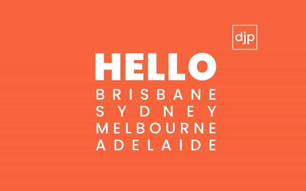 Hello Campaign Brisbane, Sydney, Melbourne, Adelaide text with orange background
